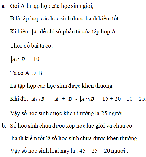Giải Toán lớp 10 Bài 3: Các phép toán tập hợp