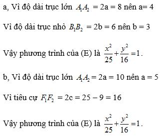 Giải Toán lớp 10 Bài 3: Phương trình đường elip