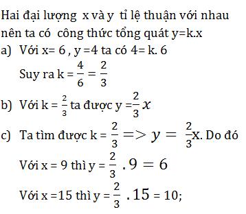 Giải Toán lớp 7 Bài 1: Đại lượng tỉ lệ thuận