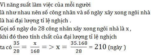 giai toan lop 7 bai 3 dai luong ti le nghich 2 - Giải Toán lớp 7 Bài 3: Đại lượng tỉ lệ nghịch