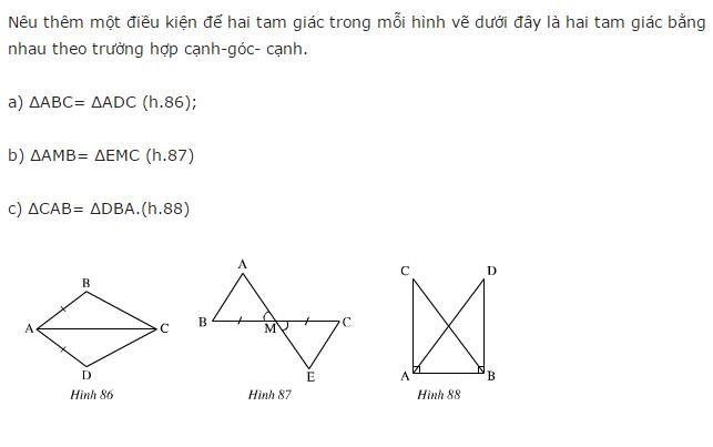 Giải Toán lớp 7 Bài 4: Trường hợp bằng nhau thứ hai của tam giác: cạnh - góc - cạnh (c.g.c)