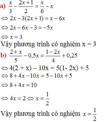 Giải Toán lớp 8 Bài 3: Phương trình đưa được về dạng ax + b=0