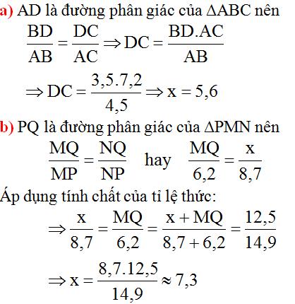 giai toan lop 8 bai 3 tinh chat duong phan giac cua tam giac 1 - Giải Toán lớp 8 Bài 3: Tính chất đường phân giác của tam giác