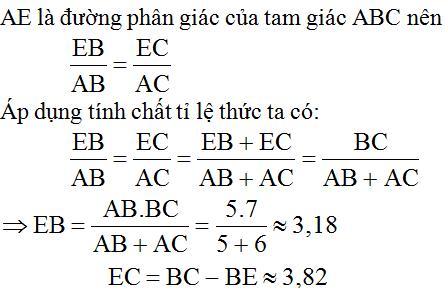 giai toan lop 8 bai 3 tinh chat duong phan giac cua tam giac 7 - Giải Toán lớp 8 Bài 3: Tính chất đường phân giác của tam giác