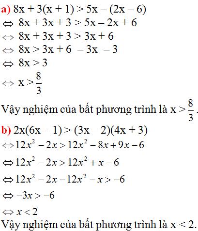Giải Toán lớp 8 Bài 4: Bất phương trình bậc nhất một ẩn