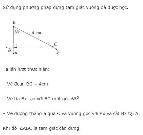 Giải Toán lớp 8 Bài 5: Dựng hình bằng thước và com-pa. Dựng hình thang