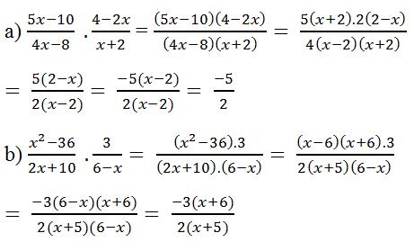 Giải Toán lớp 8 Bài 7: Phép nhân các phân thức đại số