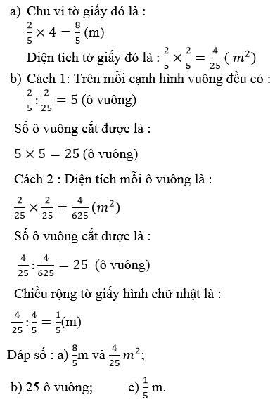 Giải Toán lớp 4 Ôn tập về các phép tính với phân số (tiếp theo)