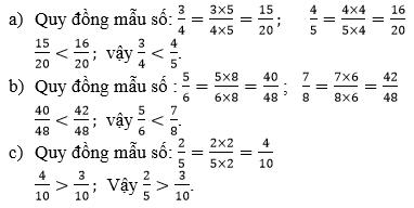 Giải Toán lớp 4 So sánh hai phân số khác mẫu số